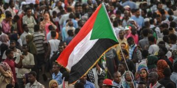 Sudanese protesters rally outside the army complex in Sudan's capital Khartoum on April 18, 2019