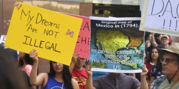 A map of Mexico as it was in 1794 is displayed as young immigrants and their supporters rally in support of Deferred Action for Childhood Arrivals (DACA) in Los Angeles, California on September 1, 2017