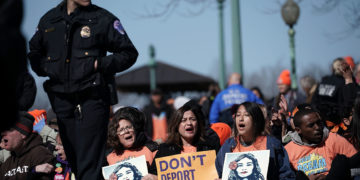 Immigration and DACA activists stage a protest on March 5, 2018