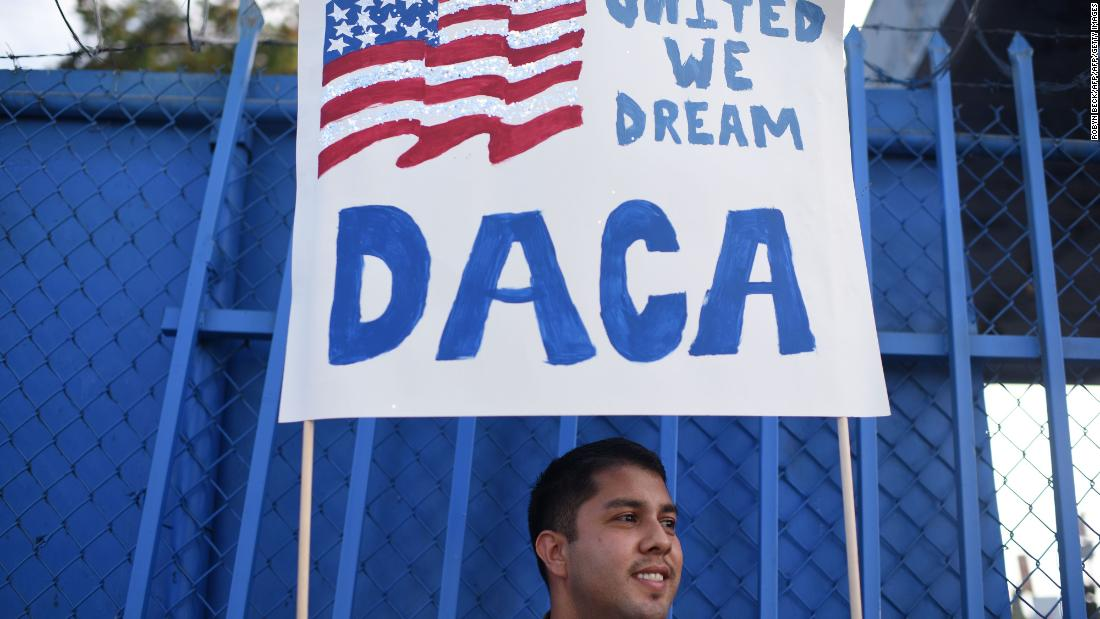 DACA protestor holding up a sign saying 'United We Dream DACA'