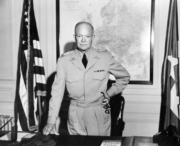 General Dwight David Ike Eisenhower (1890-1969), Supreme Commander of the Combined Land Forces in NATO, poses for a photographer in 1951 at NATO Paris headquarters