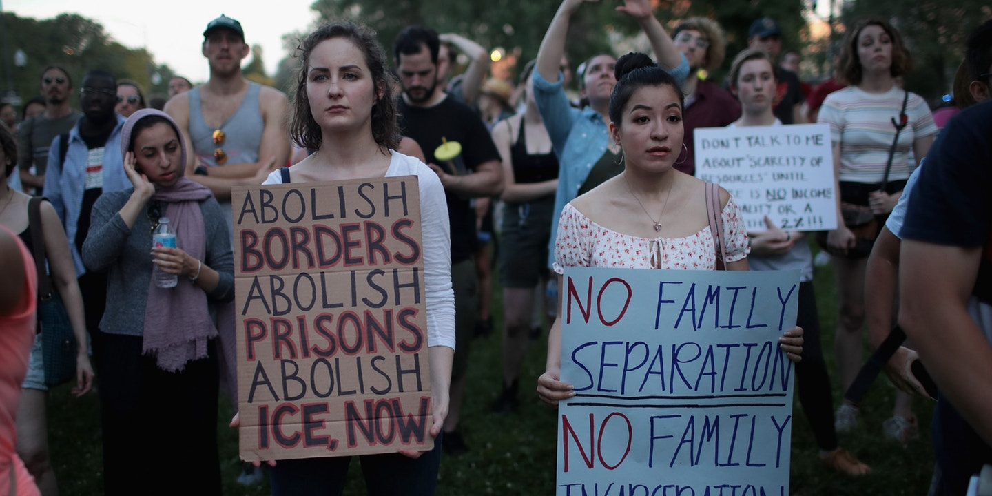 Demonstrators protest against the Trump administration's immigration policies.