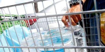 water bottles in a shopping cart