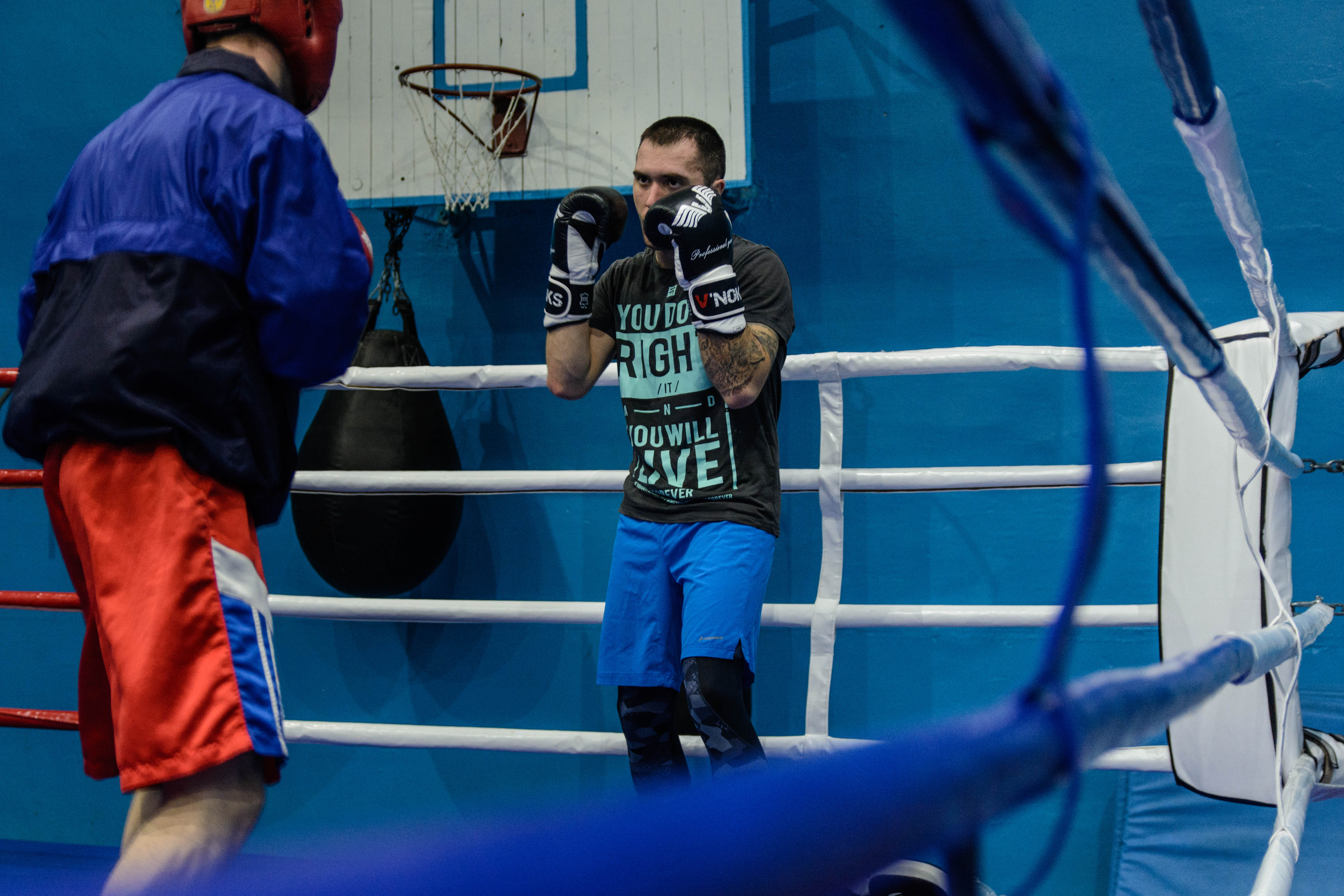 Coach Aleksandr Shyrshyn (right) sparring with one of his pupils