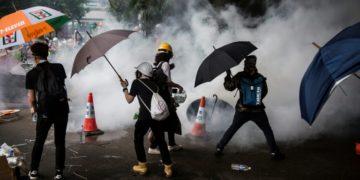 Police fires tear gas at protestors in Hong Kong.