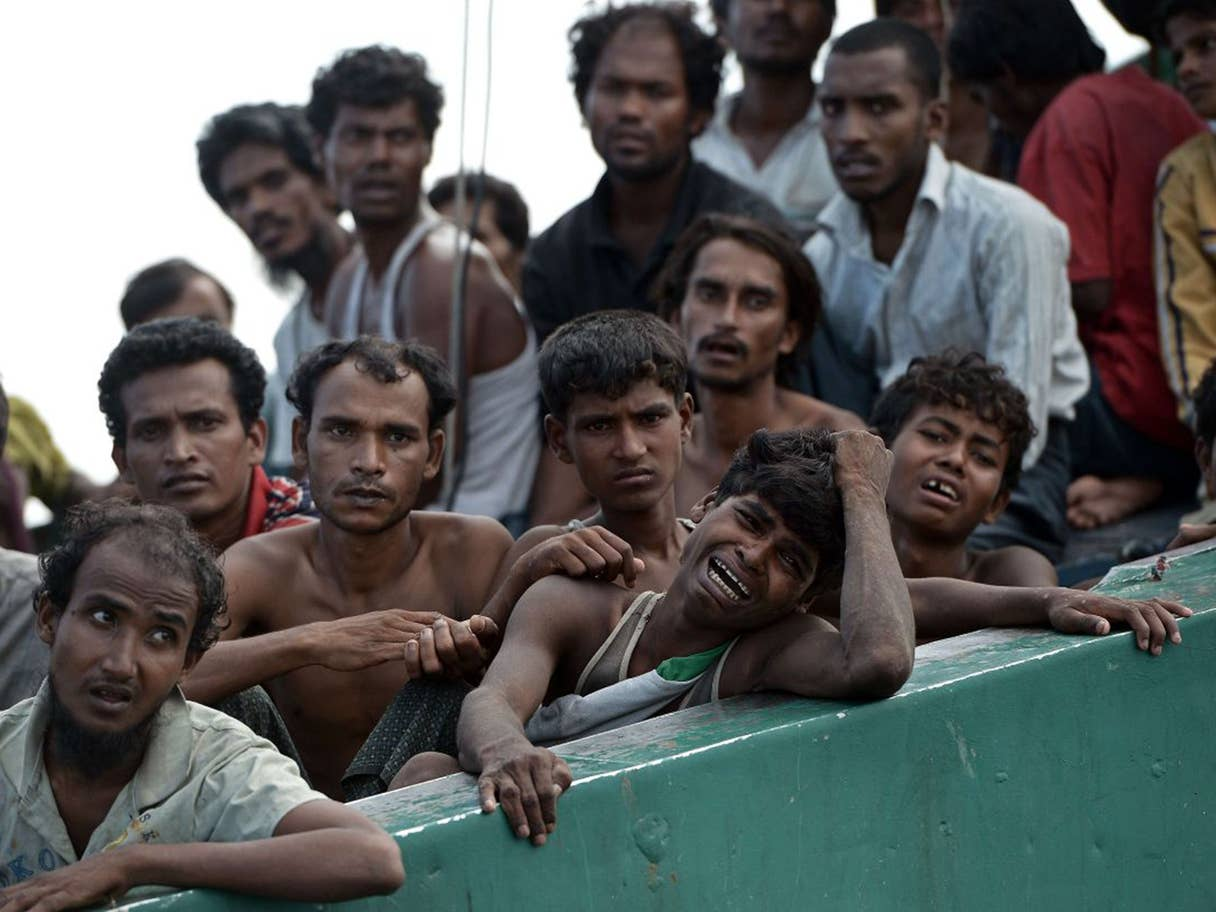 Rohingya migrants in a boat adrift in the Andaman Sea