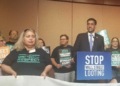 US Rep. Ro Khanna speaks at a rally to introduce the Stop Wall Street Looting Act.