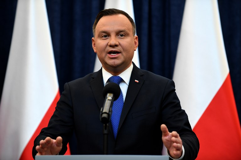 Poland's President Andrzej Duda gives a press conference on February 6, 2018 in Warsaw