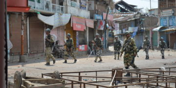 Indian security forces patrolling Tral town in South Kashmir