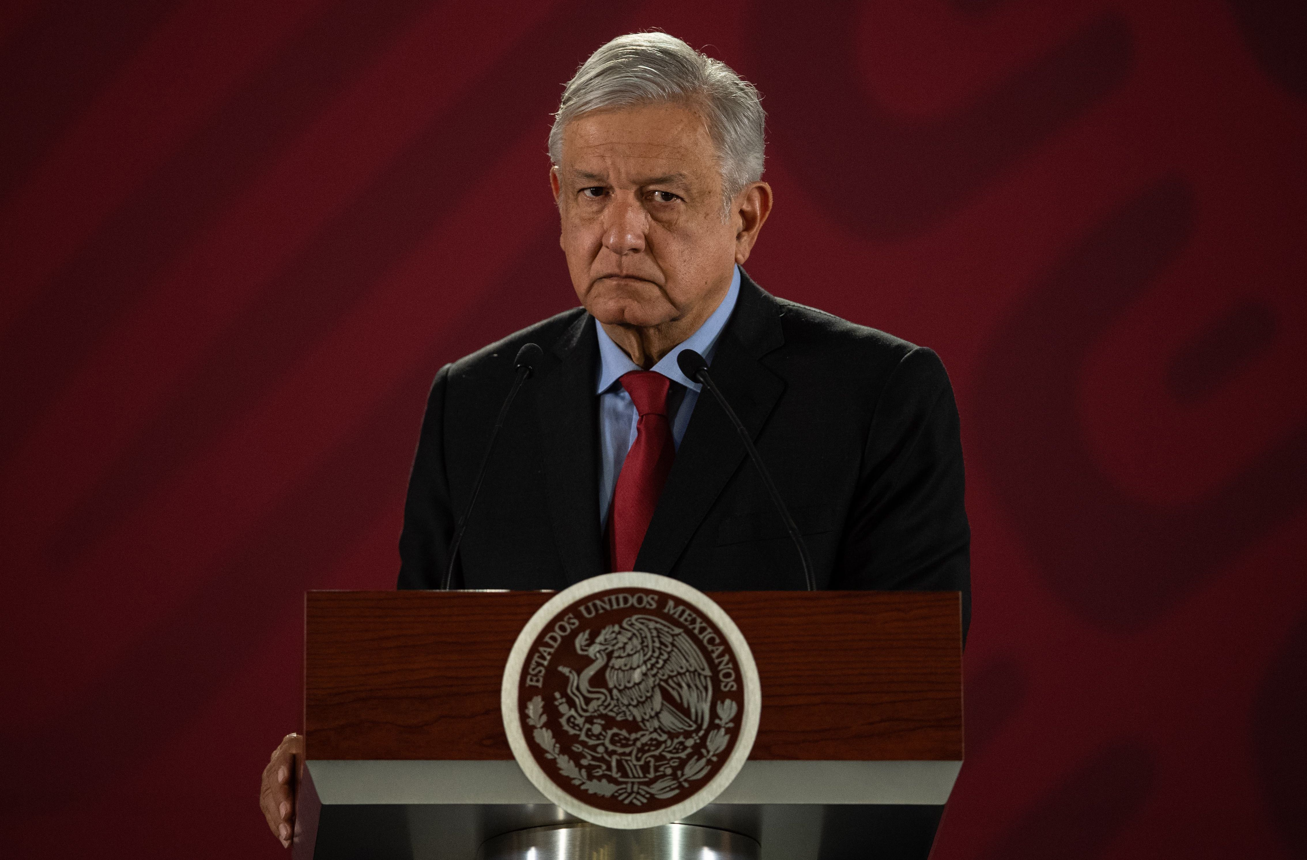 Mexican President Andres Manuel Lopez Obrador (AMLO) speaks during his daily morning press conference at the National Palace in Mexico City on March 26, 2019