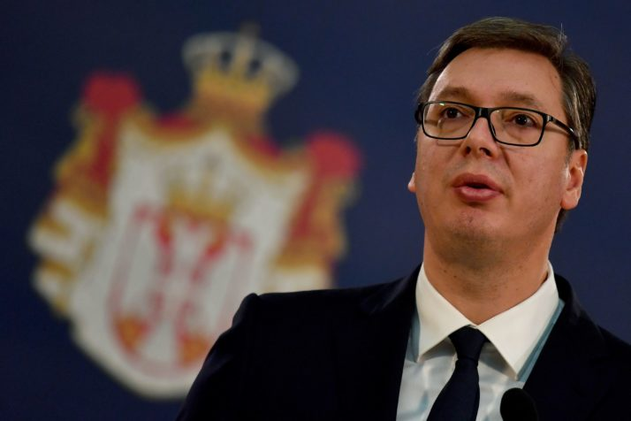 Serbian President Aleksandar Vucic speaks during a joint press conference after their meeting in Belgrade on December 9, 2017