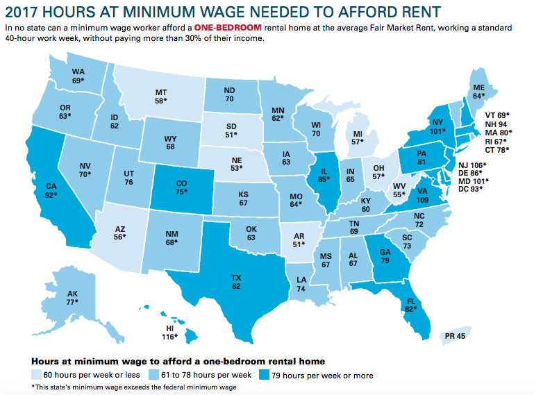 A breakdown of the hours a minimum wage worker would need to work to afford a one-bedroom apartment by state.