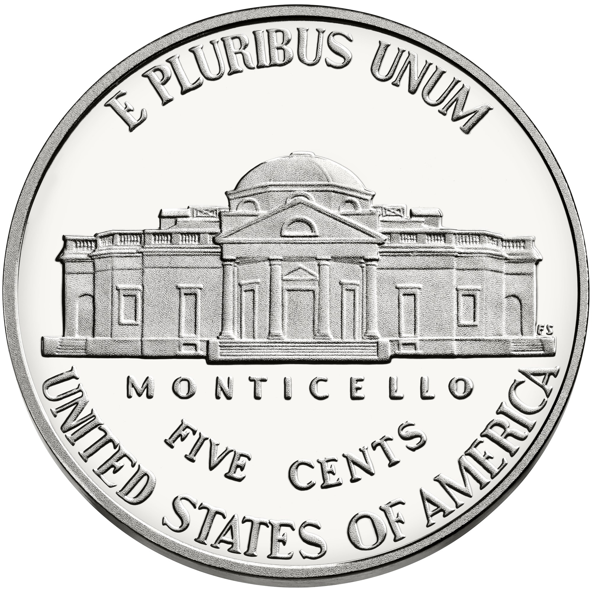 US silver nickel showing Thomas Jefferson's private mansion, Monticello