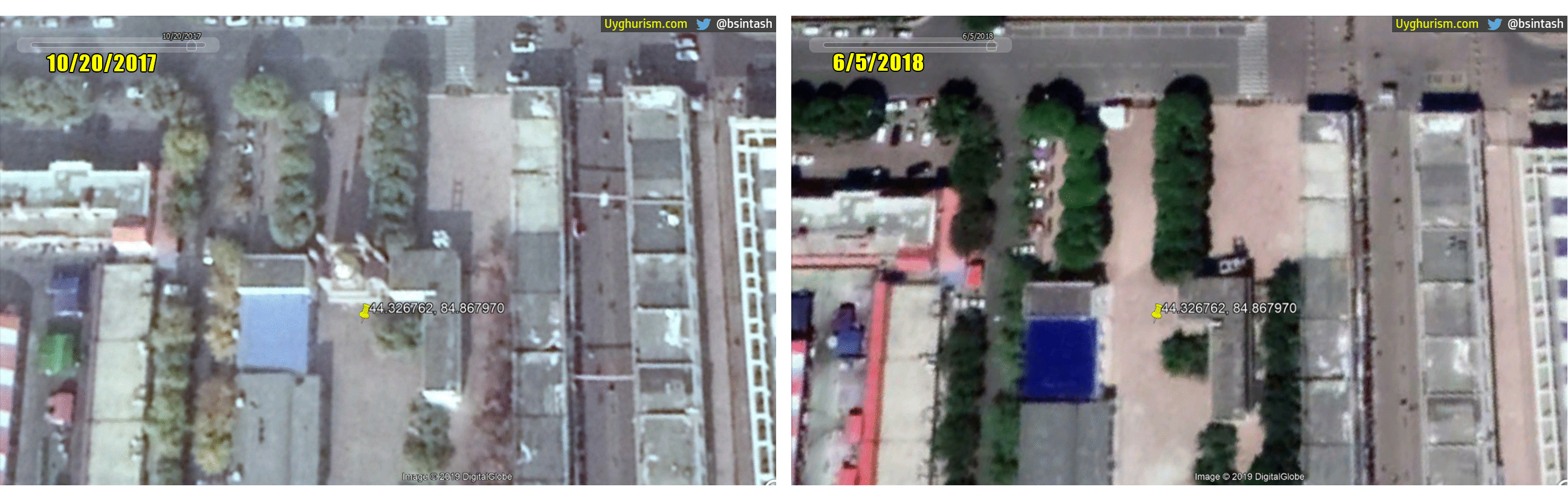 Satellite imagery comparison analysis of Maytag Grand Mosque. Left: October 20, 2017. Right: June, 5, 2018
