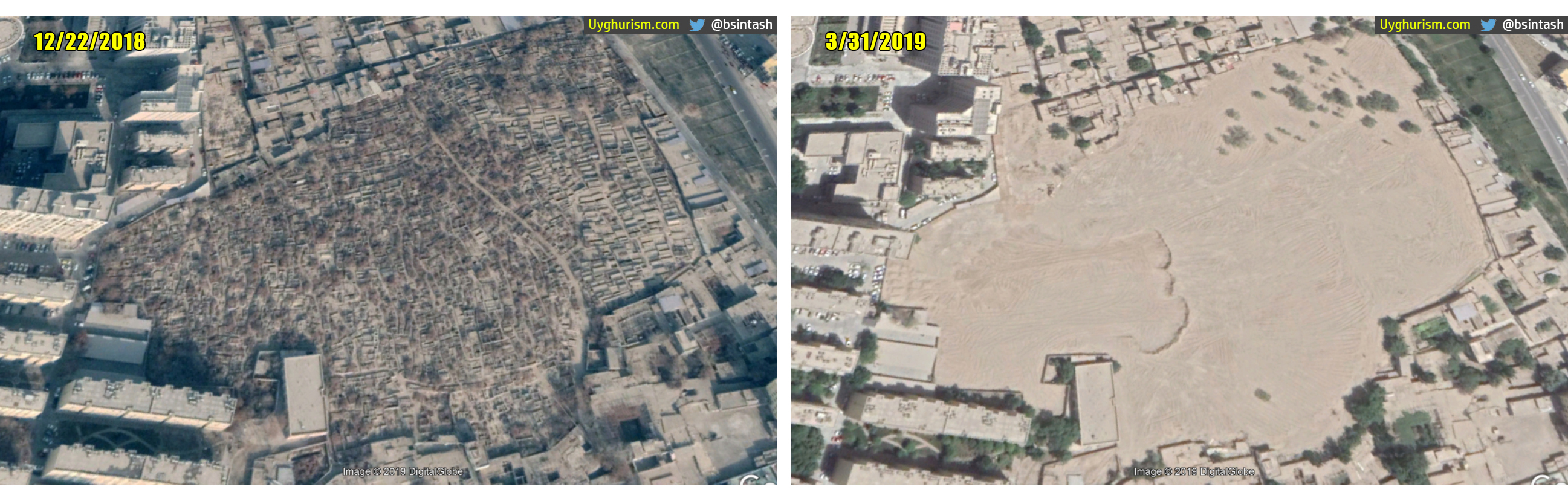 Satellite imagery comparison analysis of Sultanim Cemetery in Hotan City. Left: December 22, 2018. Right: March 31, 2019