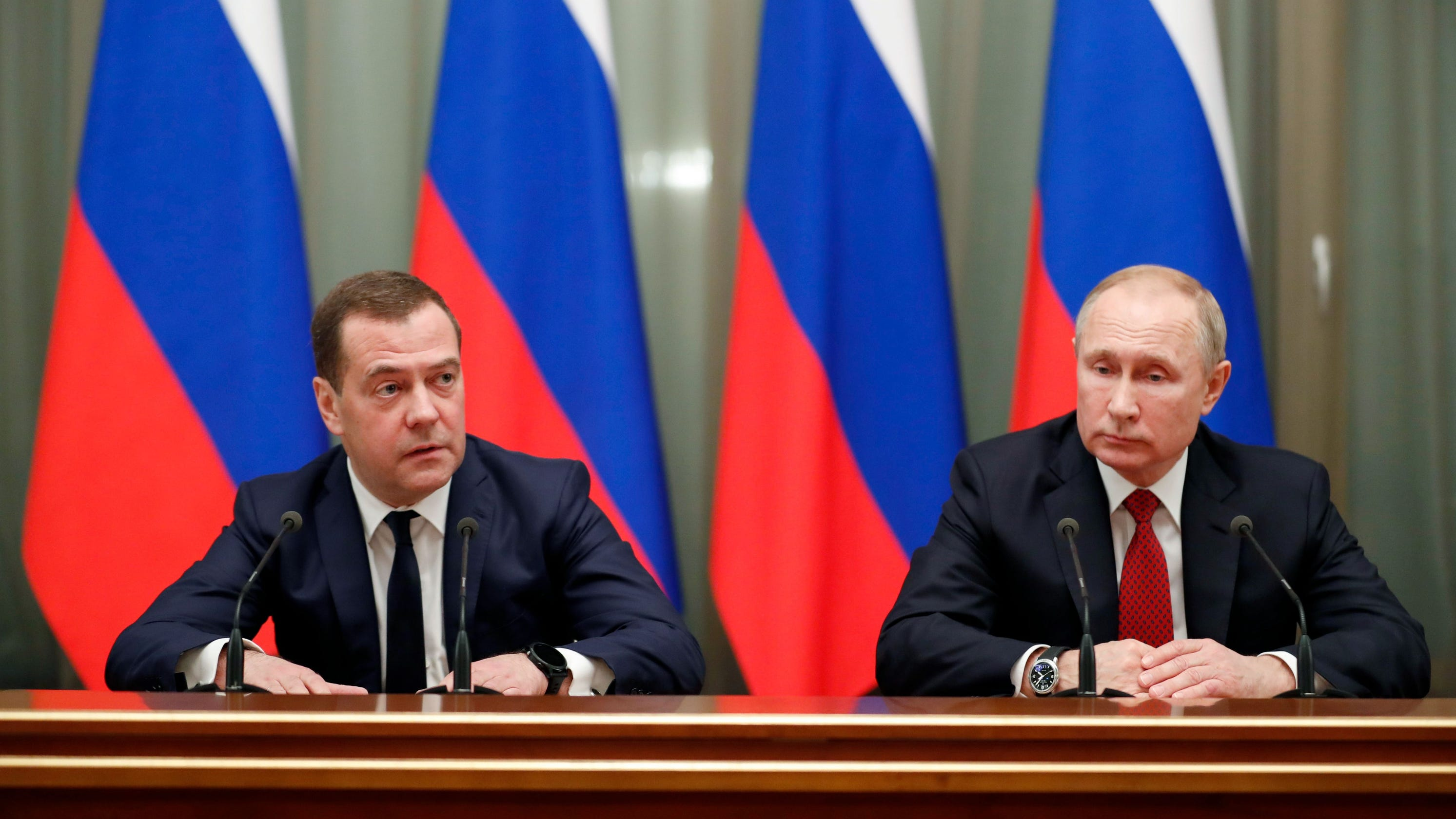 Dmitry Medvedev and Vladimir Putin