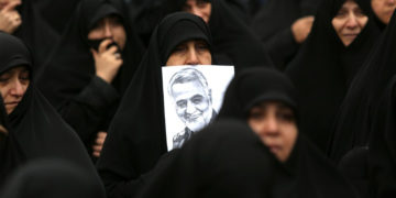 Iranian women take part in an anti-US rally to protest the killing of military commander Qasem Soleimani in Tehran, January 4, 2020