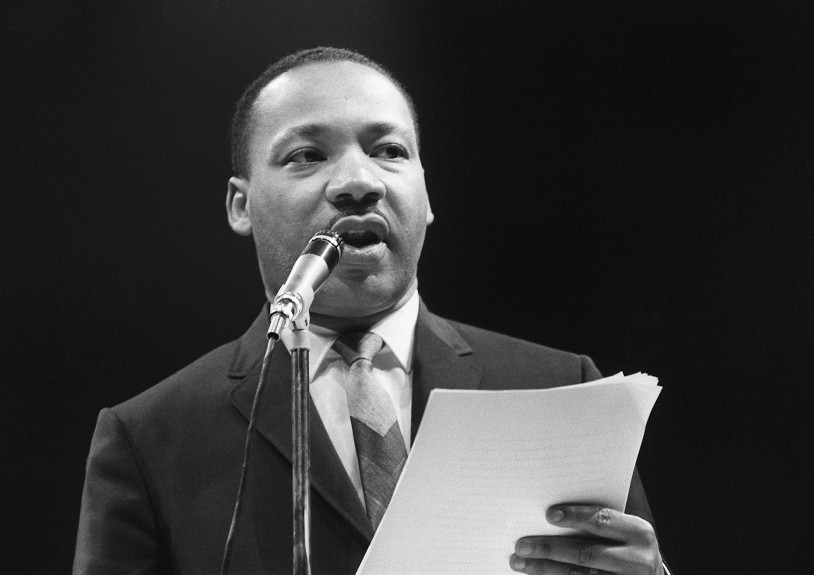 Martin Luther King addresses the militants of the 'Movement for the Peace' on March 29, 1966 in Paris' Sport Palace
