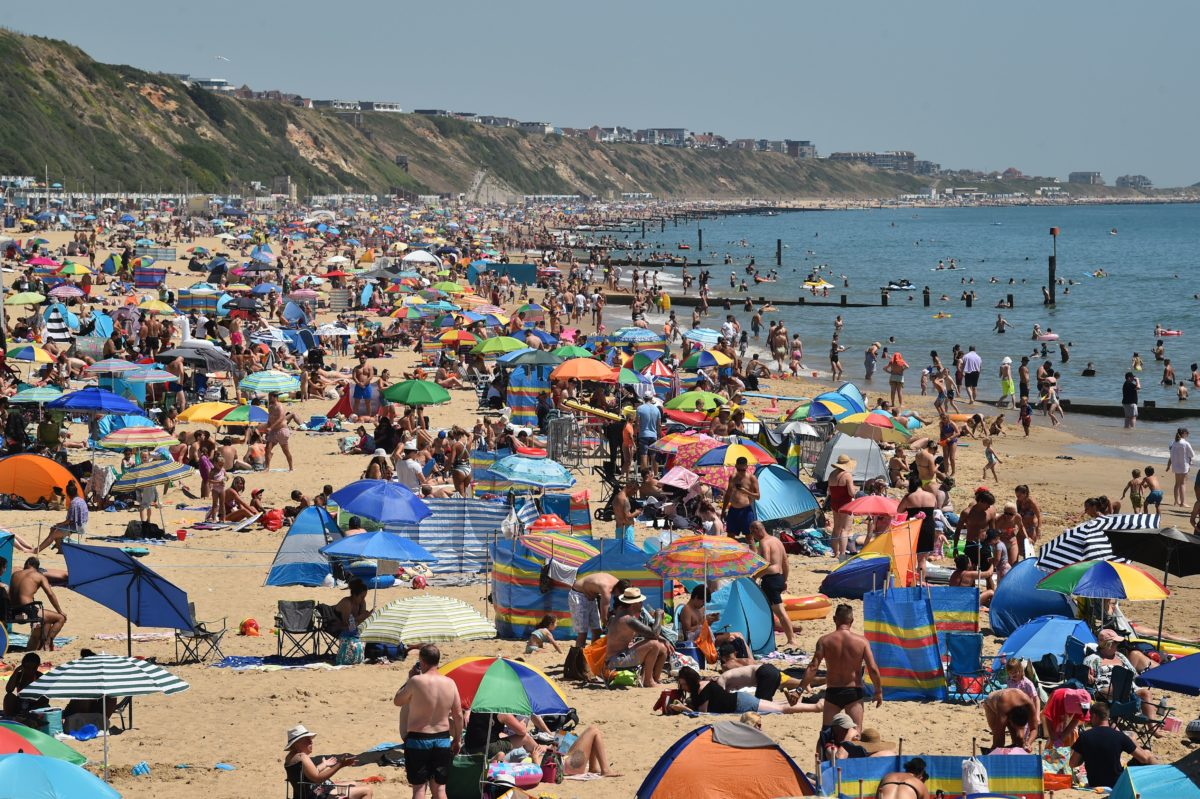 British public at Boscombe beach in Bournemouth, southern England on June 25, 2020.
