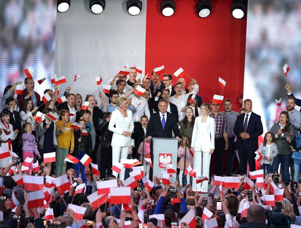 Polish President Andrzej Duda speaking to supporters after exit poll results found him slightly ahead in Polands presidential election on July 12, 2020.