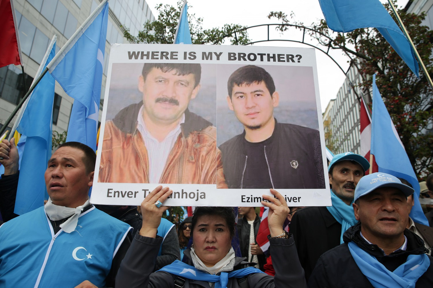 Protesters in Brussels march against human rights abuses against Uyghur Muslims in the Xinjiang region of western China. Photo: Aris Oikonomou/AFP.