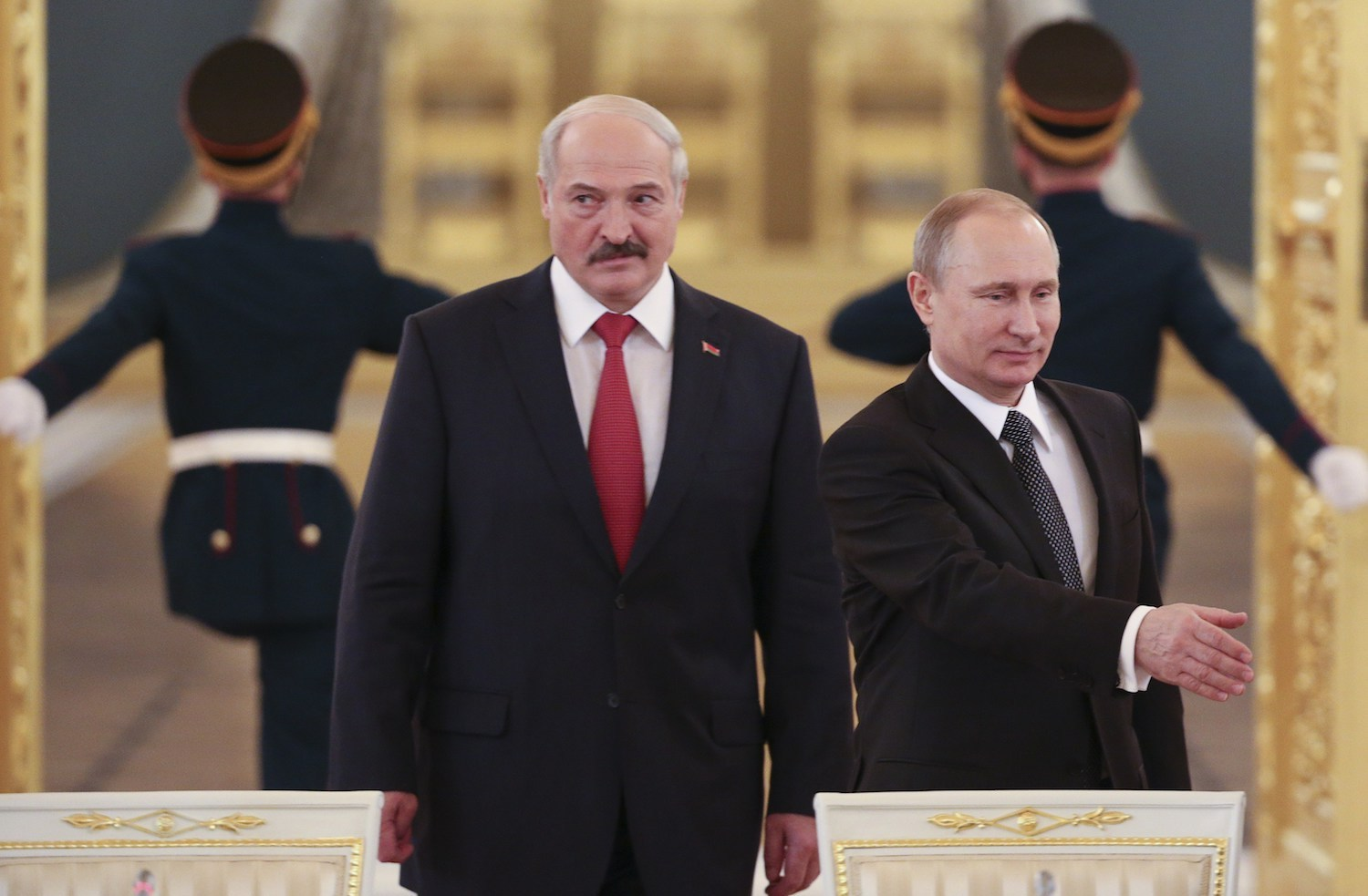 Belarusian President Alexander Lukashenko and Russian President Vladimir Putin attend a session of the Supreme State Council of the Union State at the Kremlin in Moscow on March 3, 2015. Photo: Sergei Karpukhin/AFP.