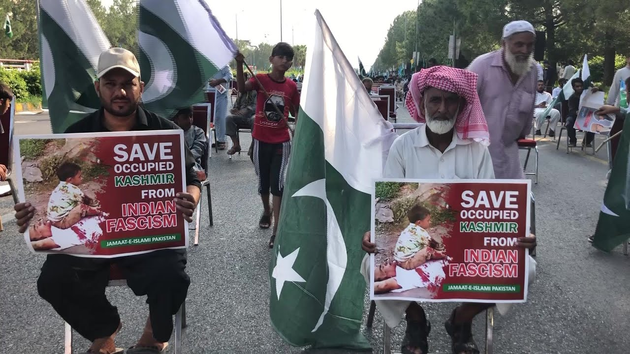 "Pakistanis wave flags and signs protesting ""Indian fascism"" in Indian-administered Kashmir."