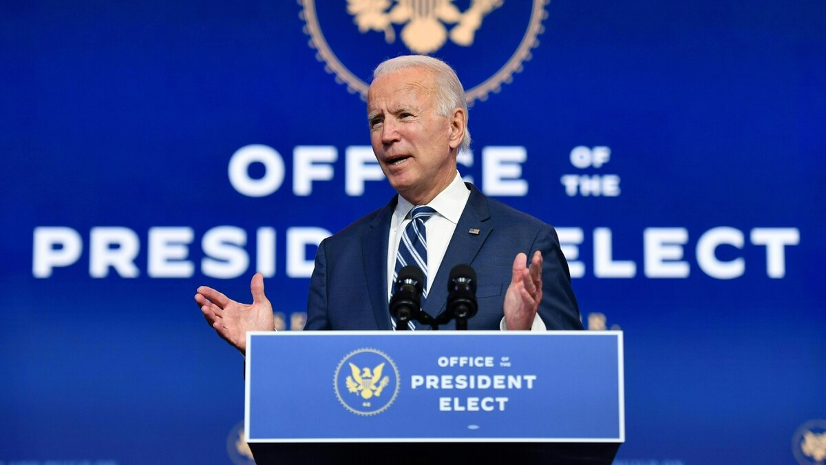 US President-elect Joe Biden delivers a speech at The Queen in Wilmington, Delaware.