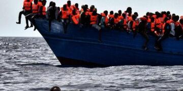 A migrant boat off the coast of Libya.
