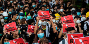 People protesting against the controversial extradition bill in Hong Kong in 2019.