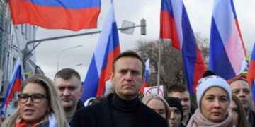 Russian opposition leader Alexei Navalny at a rally in 2020.