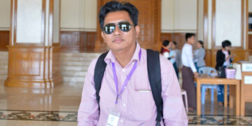 Aung Thura, a Burmese journalist for BBC News, at Myanmar's parliament in Naypyidaw, January 27, 2020.
