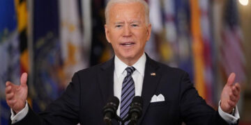 President Joe Biden speaks on the anniversary of the start of the Covid-19 pandemic.