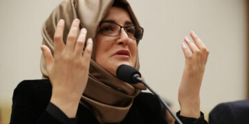 Hatice Cengiz delivers a speech addressing the US House of Representatives Foreign Affairs subcommittee on Capitol Hill, May 16, 2019.