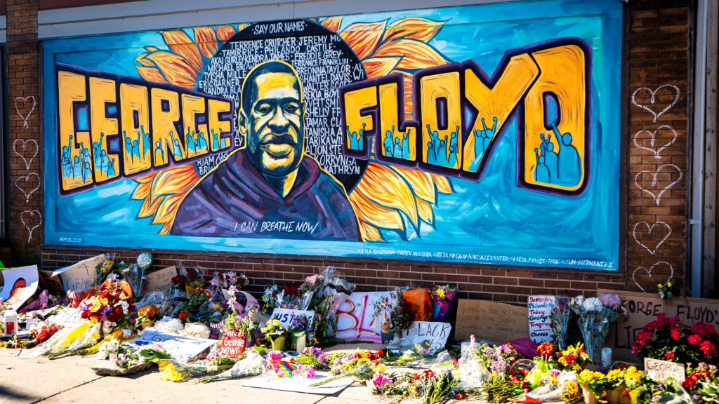 A mural honoring George Floyd in Minneapolis, MN.