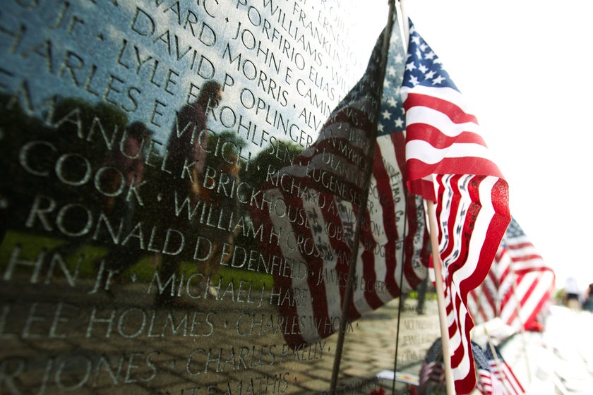 A US flag adorns the wall of the Vietnam Veterans Memorial in Washington on May 28, 2017.